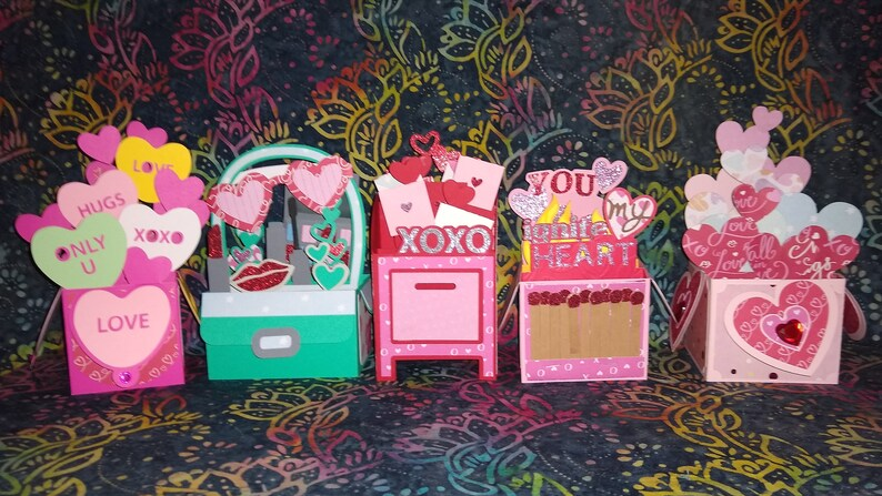 Valentine's Day Box Cards Set of 5 cards