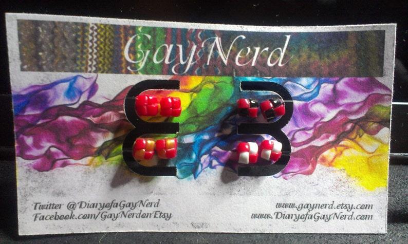 Handmade Hypoallergenic Set of 4 Red Plastic Lanyard Stud image 1
