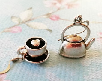 Coffee Gift For Her Coffee Jewelry Coffee Pot And Coffee Cup Earrings Coffee Lover Gift