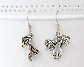 Holiday Earrings, Beach Jewelry, Palm Tree Earrings, Holiday Jewellery, Beach Earrings, Summer Jewelry, Summer Earrings, Charm Earrings