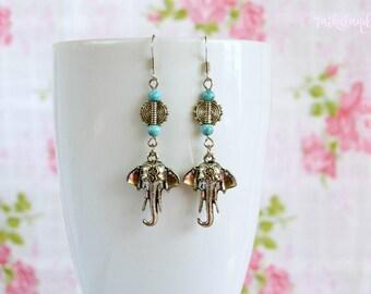 Turquoise Earrings, Boho Earrings, Beaded Earrings, Elephant Earrings, Boho Jewelry, Gypsy Earrings, Hippie Earrings, Silver Earrings