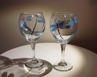 Iridescent Dragonfly hand painted wine Glass, makes a beautiful and whimsical gift, a true work of art, 15.95 each glass