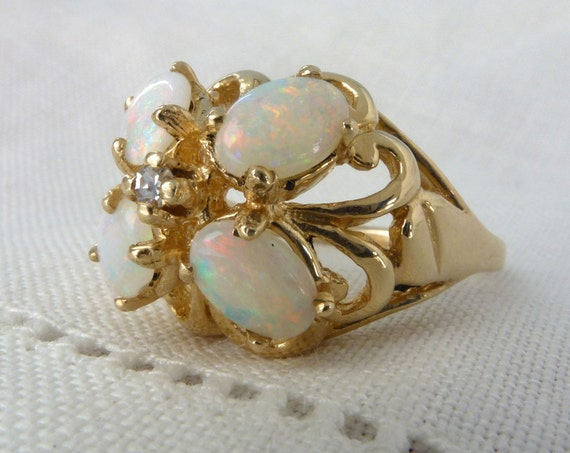 A Vintage Unique Opal and Diamond 14kt Yellow Gold Flower Ring - Blossom
