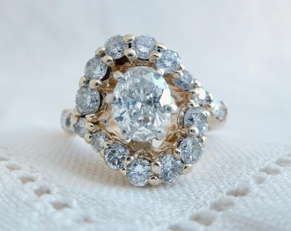 A Vintage Over 2 Carats Total Oval Cut Diamond Statement Ring set in Heavy 14kt Yellow Gold - Gloria