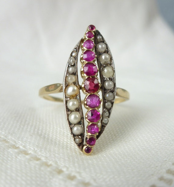 An Antique Early Victorian Navette Ruby and Seed Pearl 18kt Gold and Sterling Ring - Amandine