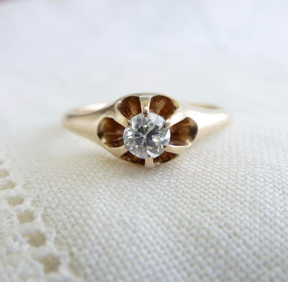 An Antique Victorian Old Cut Diamond Set in a Floating 14kt Yellow Gold Engagement Ring - Rowena