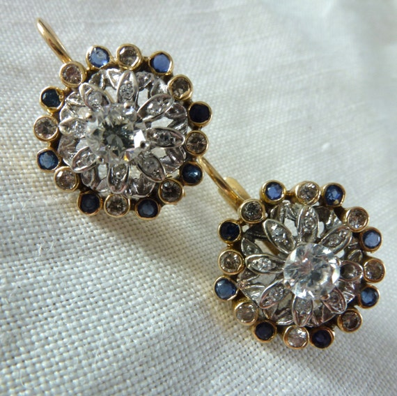 Vintage Diamond and Sapphire Cocktail 14kt Gold Dangling Pierced Earrings