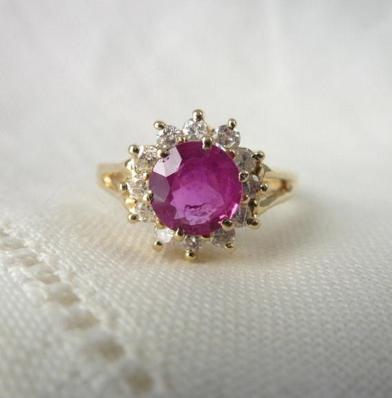 A Fine Natural Ruby and Diamond Halo Engagement Ring in 14kt Yellow Gold - Lucretia