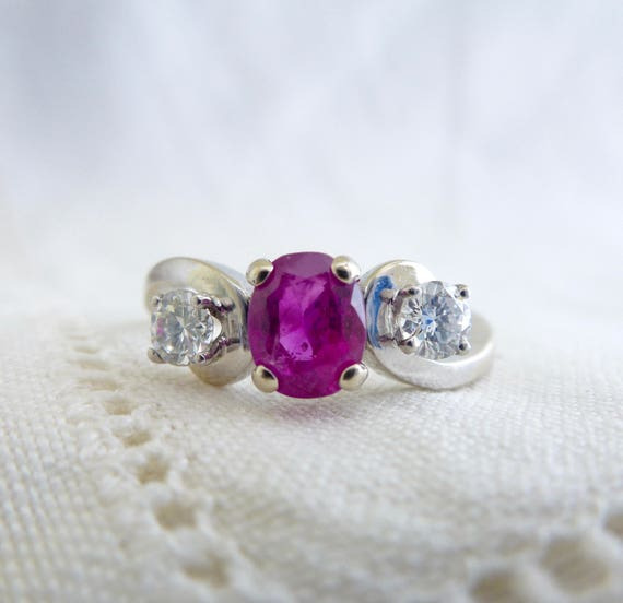 A Fine Natural Ruby and Diamond Engagement Ring in 14kt White Gold - Rosalinda