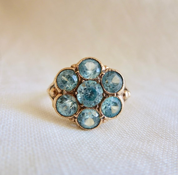 An Antique Multi Natural Blue Zircons in a 10kt Rose Gold Flower Ring - Braewyn