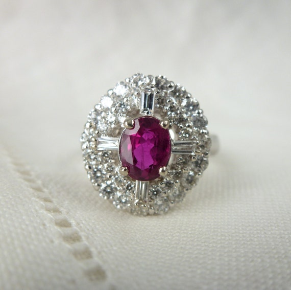 An Exceptional Natural Ruby and Diamond Engagement Ring in 14kt White Gold - Rhea