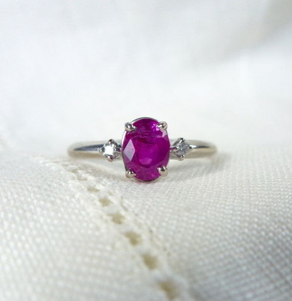 A GIA Certified Untreated Natural Ruby and Diamond Vintage Engagement Ring in 18kt White Gold - Meryl