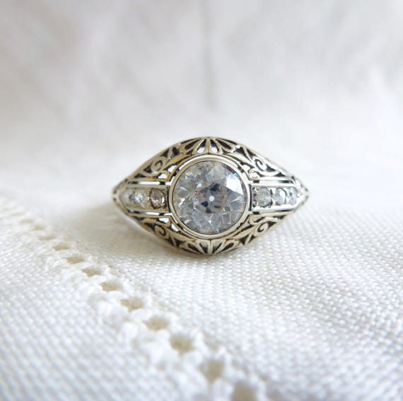 An Edwardian .80 Old Cut Diamond Bezel Set Filigree Engagement Ring in 14kt White Gold - Adeline
