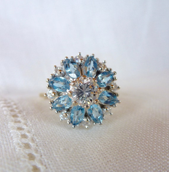 A Natural Aquamarine and Diamond Flower Ring in 14kt Yellow Gold - Flossie