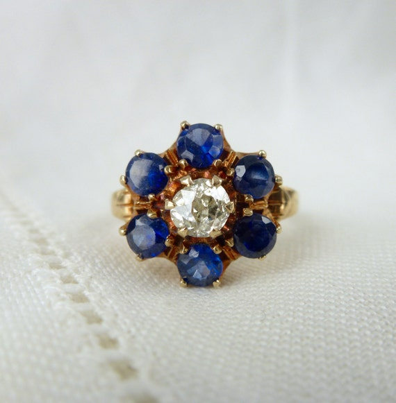 An Antique Art Deco .45 Old Cut Diamond and Blue Sapphire 10kt Yellow Gold Ring - Bertha