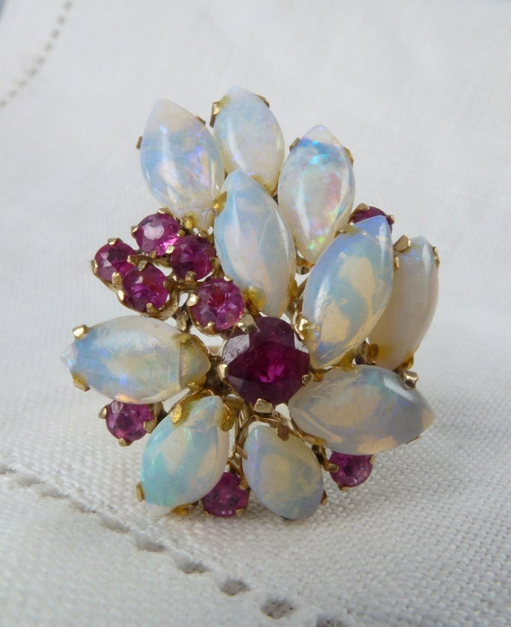 A Marquise Natural Opal and Ruby 14kt Gold Cocktail Statement Ring - Myrtle