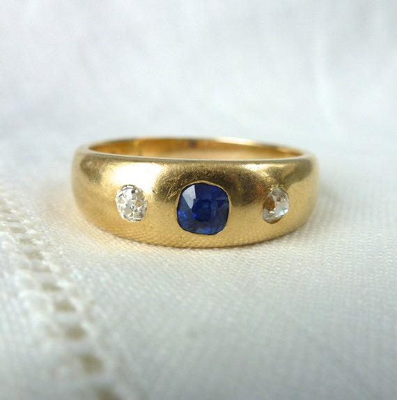 A Very Fine Antique Victorian Old Cut Sapphire and Diamond Mens Wedding 18kt Yellow Gold Ring - Albert
