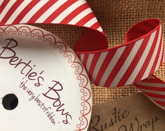 3m Candy Cane Striped Red & White Ribbon 16mm Christmas Crafts, Gift Wrapping