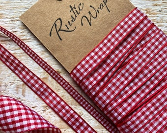 5m  Red and White Gingham Ribbon, Christmas Wrapping, Cards, Crafts 5mm, 10mm, 25mm