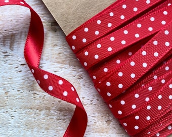 5m x 10mm Red and White Polka Dot Ribbon, Christmas Wrapping, Cards, Crafts Spotty Dotty