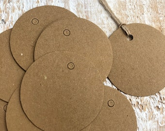 Round Kraft Gift Tags with Twine,  Recycled Blank Eco Labels, Wedding Favours, Preserves Gift Hang Tags