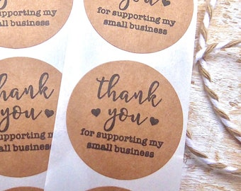 Thank You For Supporting My Small Business - Stickers Kraft Round Business Order Craft Labels,