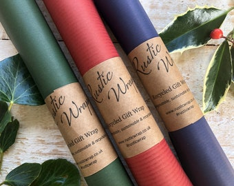 Recycled Kraft Gift Wrapping Paper Roll Recyclable Eco Friendly Christmas Wrap Blue Red Green Blue