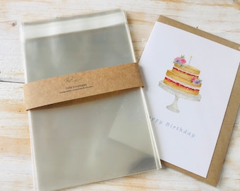 120 x 162 mm (C6) Clear Cello Bags, Biodegradable  Eco-Friendly Compostable Self Seal Envelopes,  Cards, Prints, Wedding, Confetti  Favour