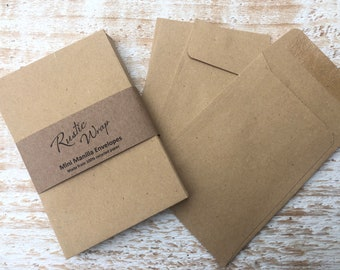 Mini Kraft Envelopes 98mm x 67mm Recycled Eco friendly Sustainable packaging