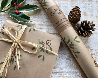 Christmas Kraft Gift Wrapping Paper Roll Recyclable Eco Friendly Xmas Wrap Mistletoe Berries