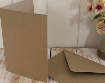 A6 / C6 Blank Cards and Envelopes Set, Recycled  Kraft Brown 280gsm Craft