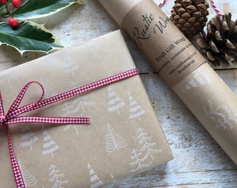 Christmas Kraft Gift Wrapping Paper Roll Recyclable Eco Friendly Xmas Trees Wrap