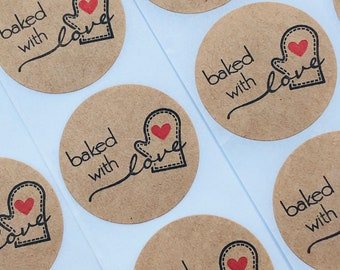 Baked With Love Stickers Handmade Homemade Kraft Labels Heart Bread Business Baking 25mm