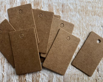 20 Mini Kraft Tags,  Blank Labels, Jewellery Tags, Craft Labels, Price Gift Swing Tags  33mm x 19mm