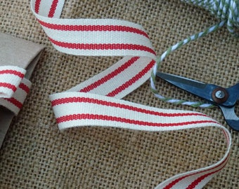3m x Red and Natural Striped Cotton Ribbon, French Ticking Style Tape Christmas Gift Wrap