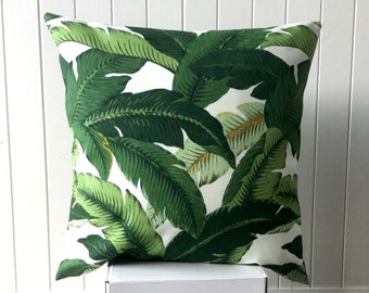 """Outdoor Tommy Bahama 45cm x 45cm - 18"""" x 18"""" Cushion /Pillow /Throw Pillow Cover Tropical Green & White Palm Leave/ Banana Leave/Beach House"""