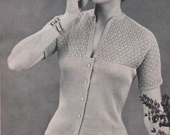 Dainty cotton knitted  cardigan  1950s vintage pattern instant download