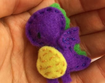 Hand embroidered cute felt brooch - Percival the Dragon