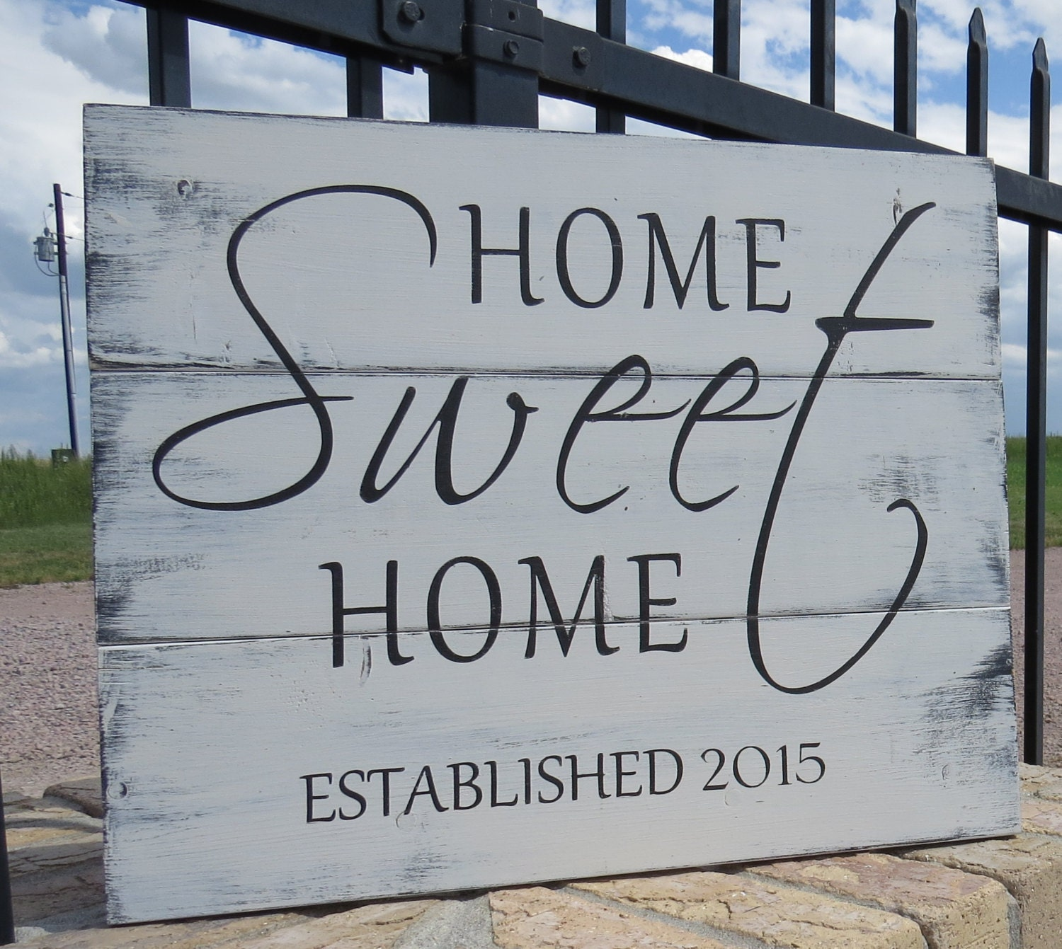 dfafa8493dce5 Home Sweet Home Established/Rustic Painted Established Sign/Family Est.  Sign/Family Established Plaque/Housewarming Gift/Rustic Welcome Sign