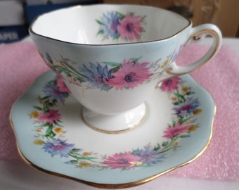 E.B. FOLEY BONE CHINA Cornflower Cup & Saucer Made In England Pink Flowers