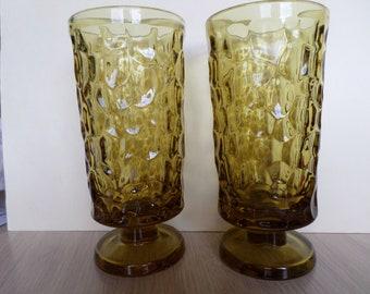 2 Fostoria Pebble Beach Lemon Twist 10 Ounce Footed Goblets Glasses