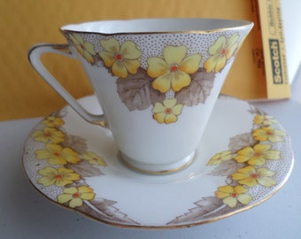 A B JONES Grafton China Made in England ASHTON Pattern Yellow Flowers Trimmed in Gold