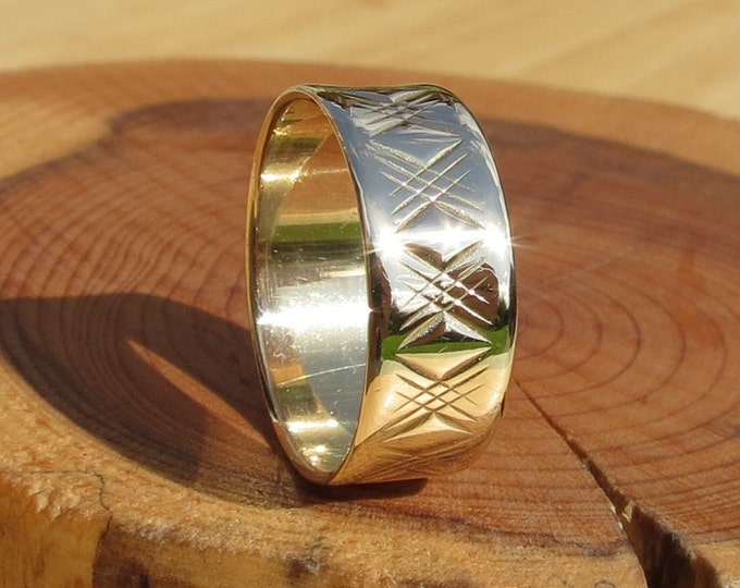Gold wedding ring, Yellow Gold, vintage 9K wide band, engraved.