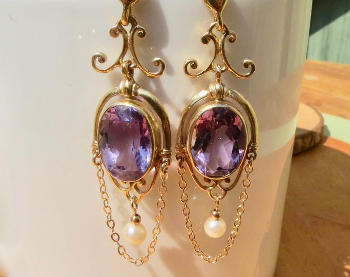 Scottish 9K yellow gold amethyst and pearl drop earrings, made in 1972
