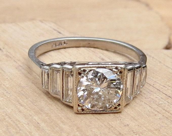 Platinum diamond ring. Genuine Art-Deco platinum diamond 2ct ring, King stone 1ct Swiss cut diamond. 1920-1935.