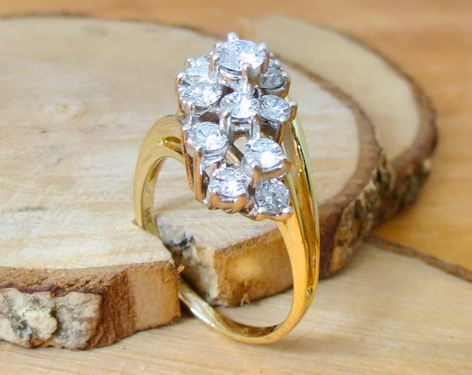 A BIG 14k yellow gold 3 Carat diamond cluster ring.