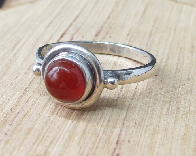 Silver ring, red agate cabochon.