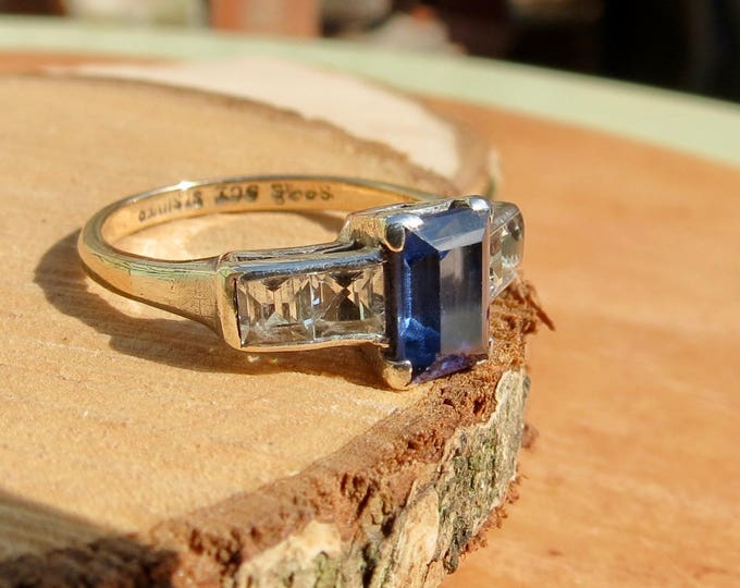 Gold blue ring. A vintage 9k gold and silver, blue stone ring.