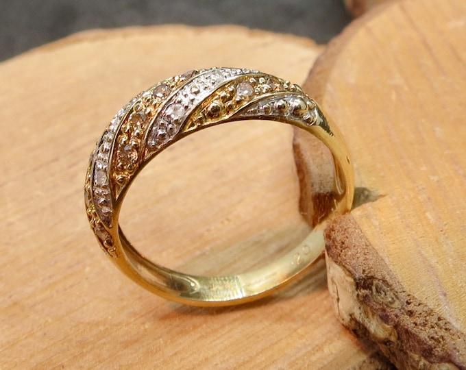 Gold diamond ring, 9k yellow gold white and champagne diamond ring.