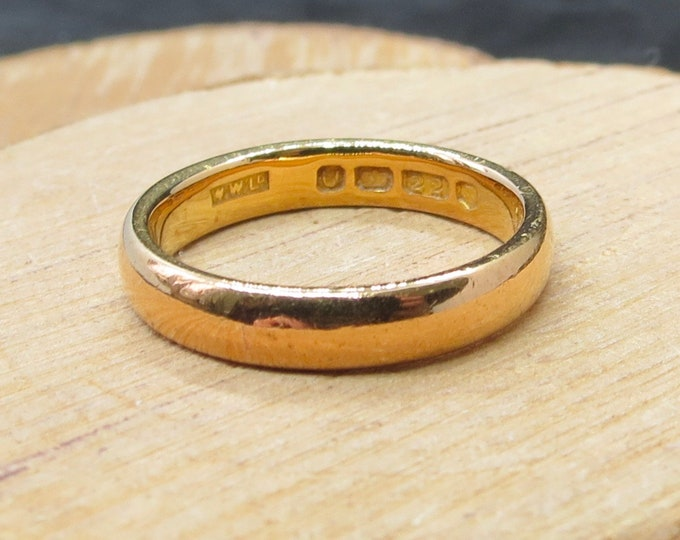22K Gold ring, 22K yellow gold vintage wedding band made in 1955